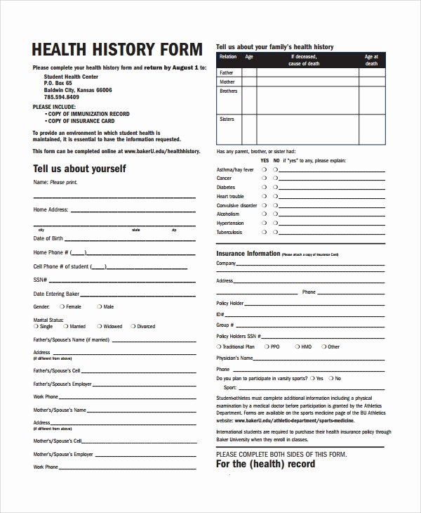 Medical History form Templates Luxury Sample Health History Template 9 Free Documents