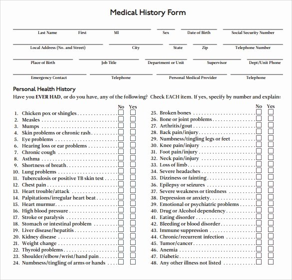 Medical History form Templates Unique 14 Medical History forms Free Sample Example format