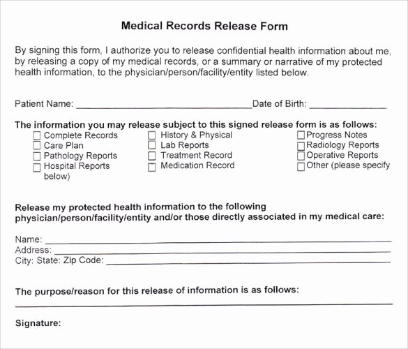 Medical Record Release form Template Awesome Medical Records Release form 10 Free Samples Examples