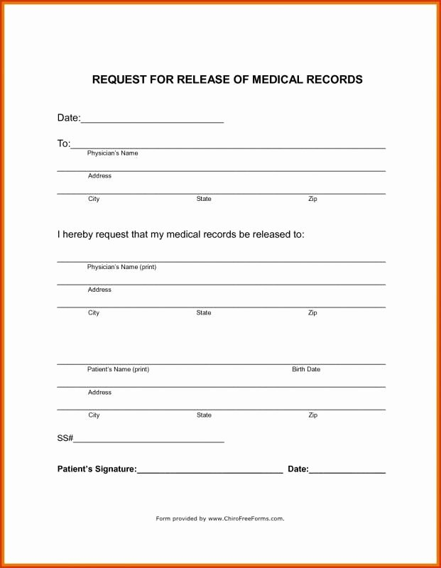 Medical Record Release form Template Fresh Medical Records Release form Template