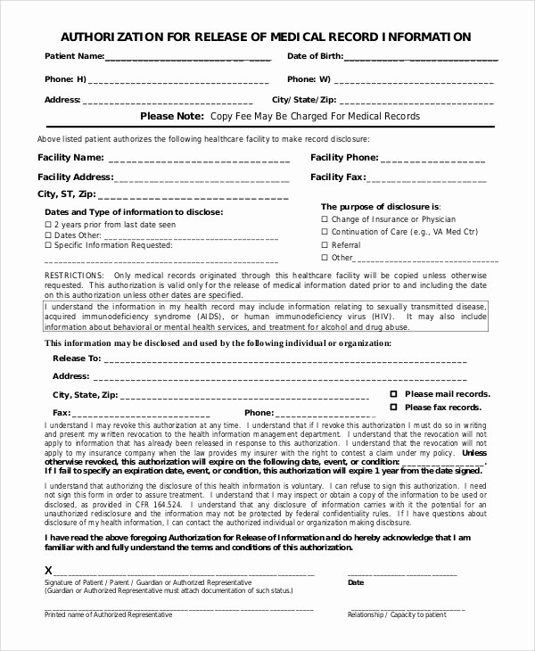 Medical Record Release form Template Fresh Sample Medical Records Release form 9 Examples In Pdf Word