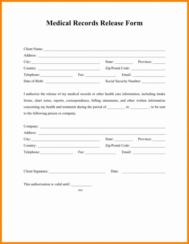 Medical Record Release form Template Lovely Medical Release form