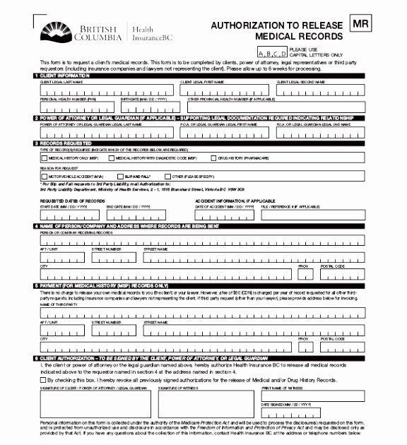 Medical Record Release form Template New 6 Authorization to Release Medical Records form Template