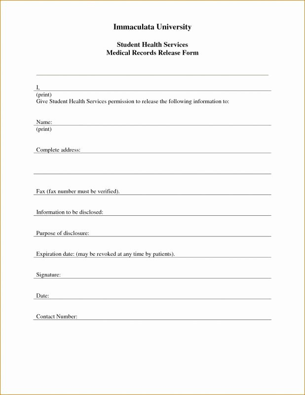 Medical Record Release form Template New Free Printable Child Medical Consent form