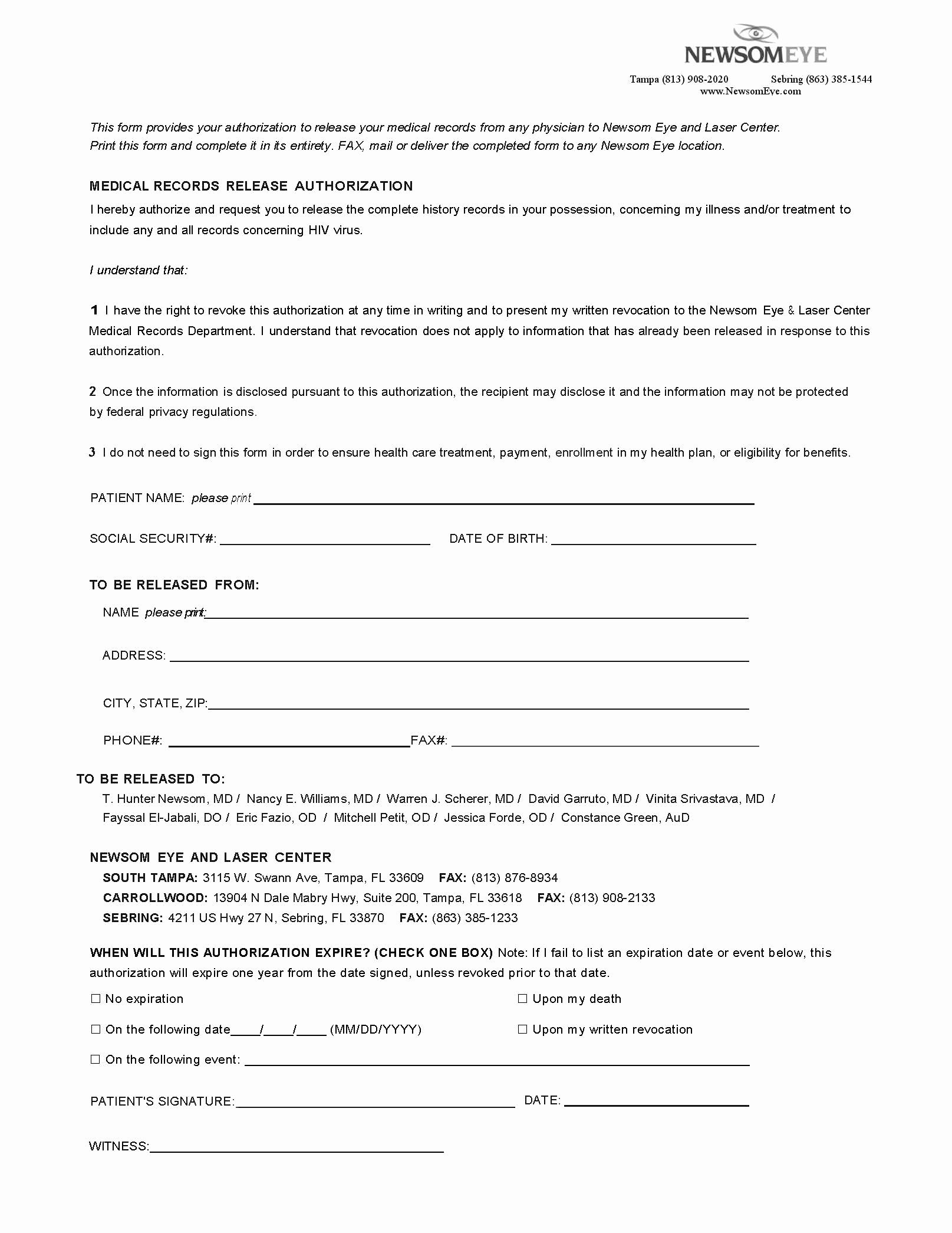 Medical Record Release form Template Unique Patient Medical Release forms