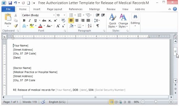 Medical Record Request Template Beautiful Free Authorization Letter Template for Release Medical