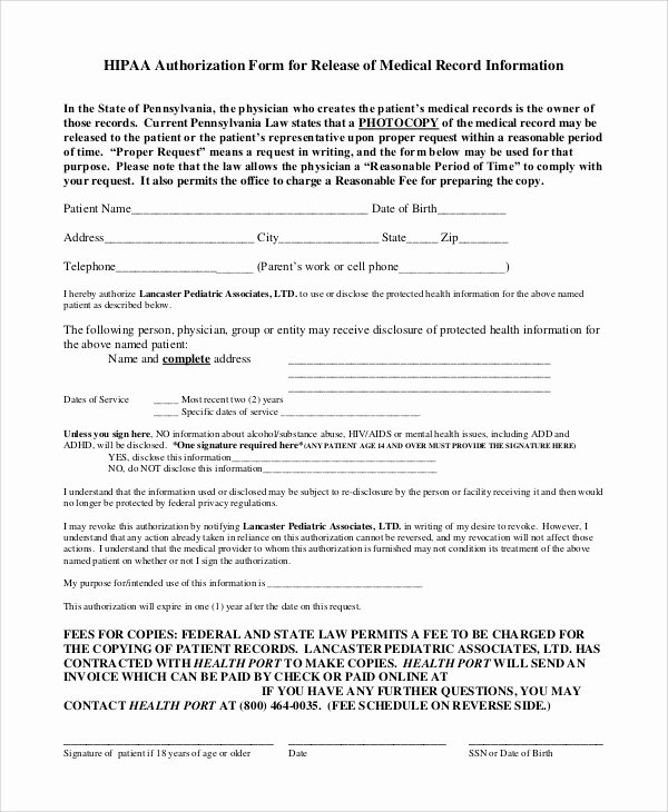 Medical Records form Template Best Of Sample Medical Records Release form 9 Examples In Pdf Word