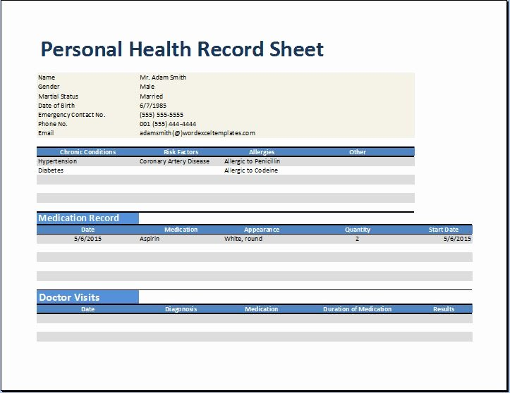 Medical Records form Template Elegant Personal Medical Health Record Worksheet Template