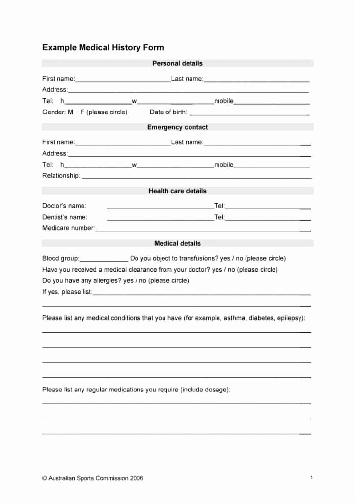 Medical Records form Template Fresh 67 Medical History forms [word Pdf] Printable Templates