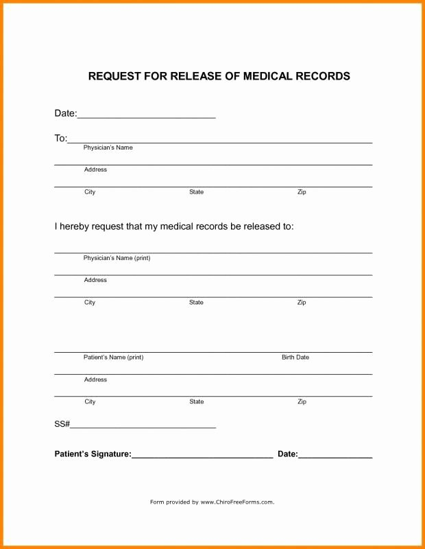 Medical Records form Template Fresh Blank Medical Records Release form Template