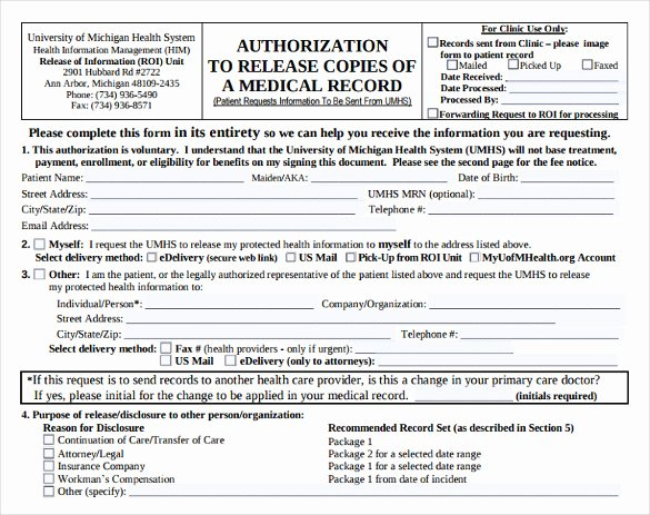 Medical Records form Template Fresh Generic Medical Records Release form 7 Download Free