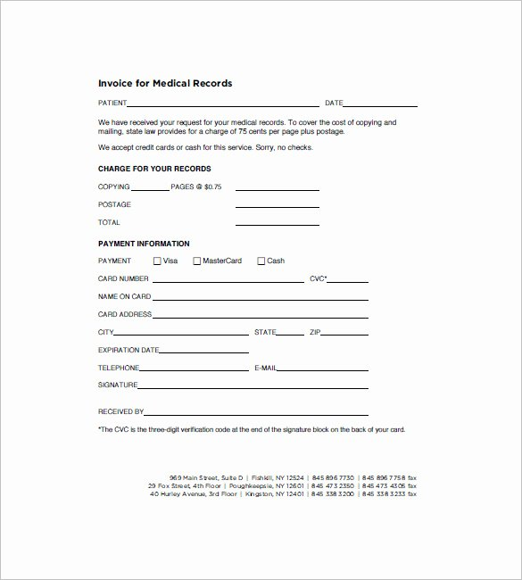 Medical Records form Template Luxury Medical Records Fee Invoice