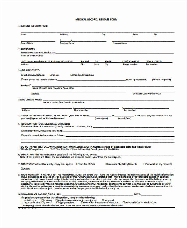 Medical Records forms Template Awesome 24 Medical Release form Templates
