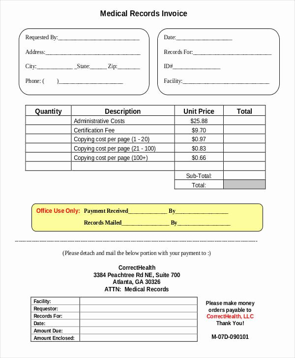 Medical Records Invoice Template Fresh 6 Medical Invoice Examples & Samples Word Pdf