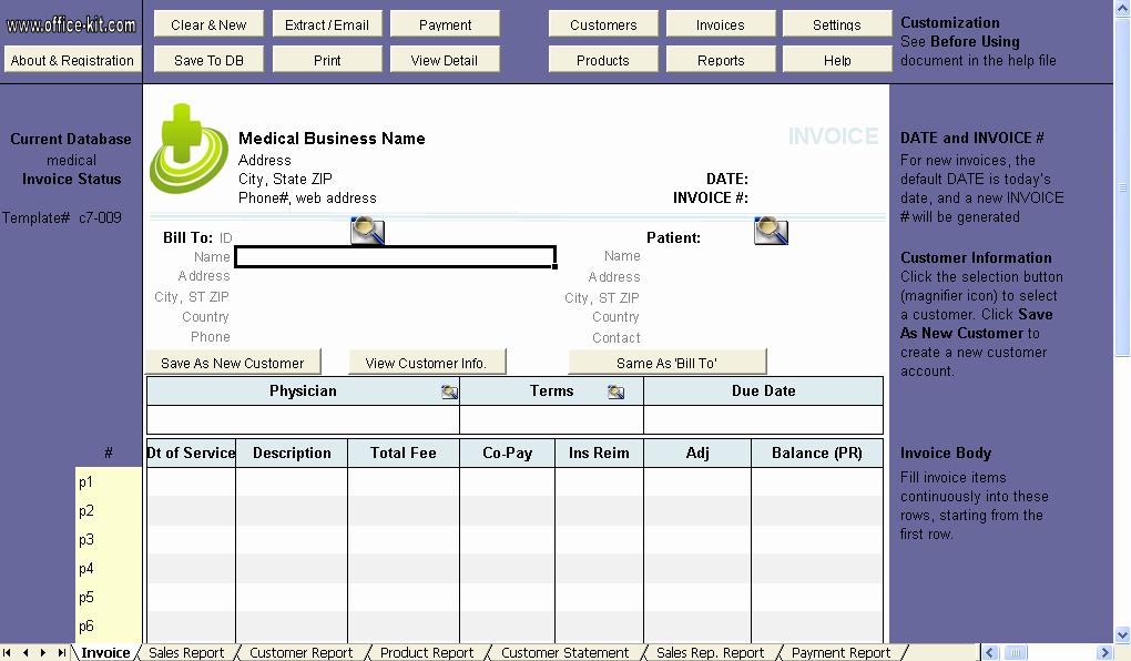 Medical Records Invoice Template Unique Medical Invoice Template Uniform Invoice software