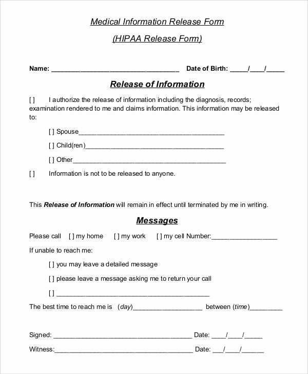 Medical Records Release form Template Awesome Sample Hipaa Release form 8 Examples In Pdf Word