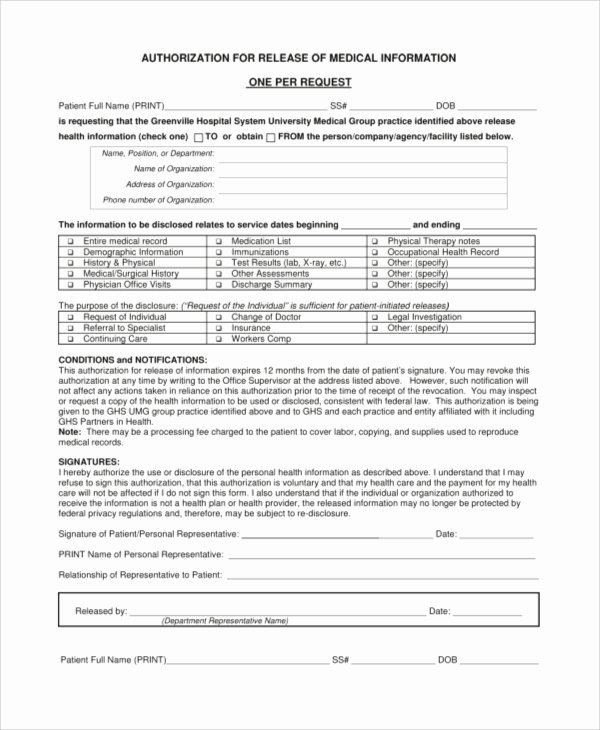 Medical Records Release form Template Best Of Sample Medical Release form 9 Examples In Pdf