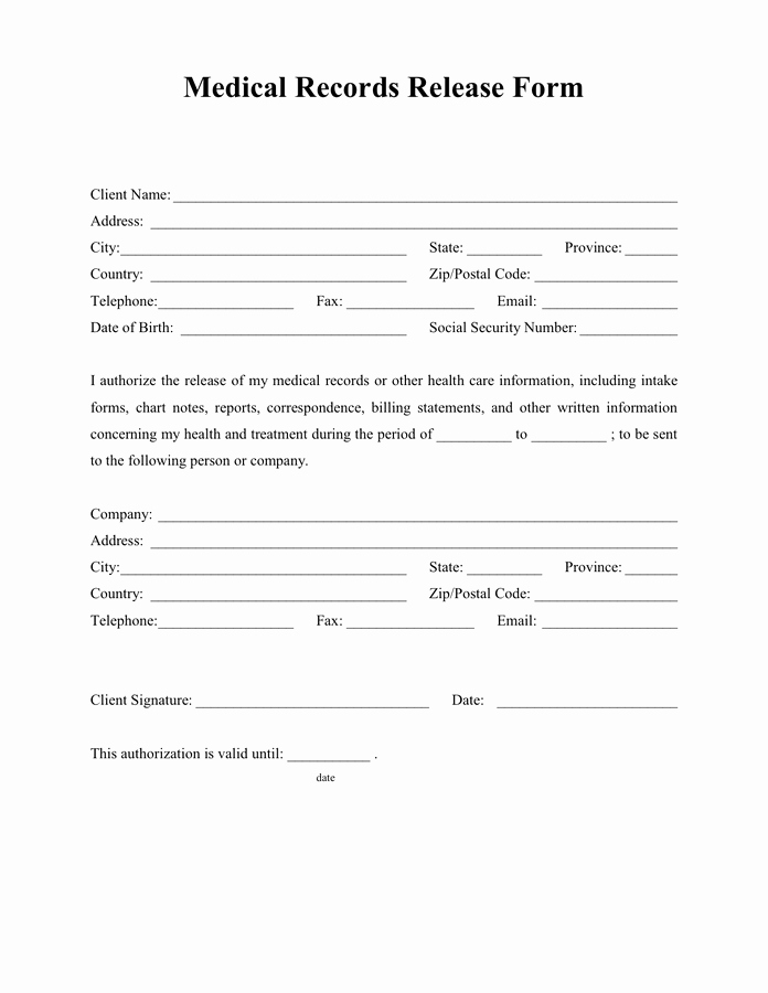 Medical Records Release form Template Fresh Medical Records Release form In Word and Pdf formats