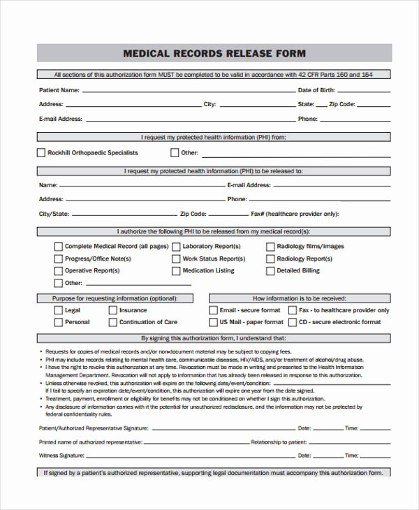 Medical Records Release form Template Inspirational 24 Medical Release form Templates