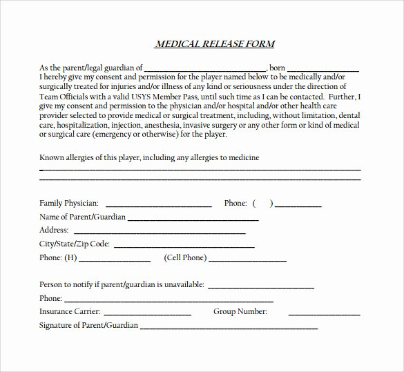 Medical Records Release form Template Inspirational Medical Release form 11 Free Samples Examples formats