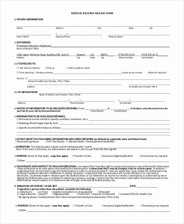 Medical Records Release form Template Lovely Sample Medical Records Release form 9 Examples In Pdf Word