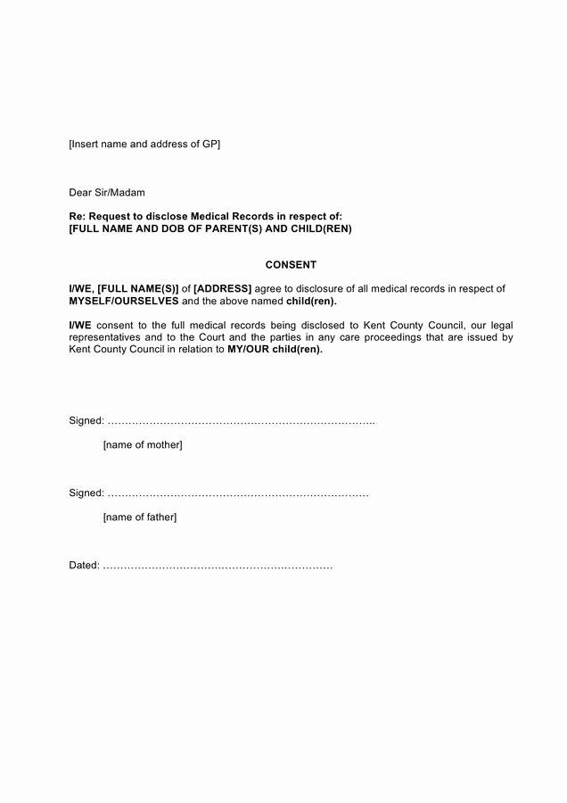 Medical Records Request form Template Best Of Request to Disclose Medical Records Template In Word and