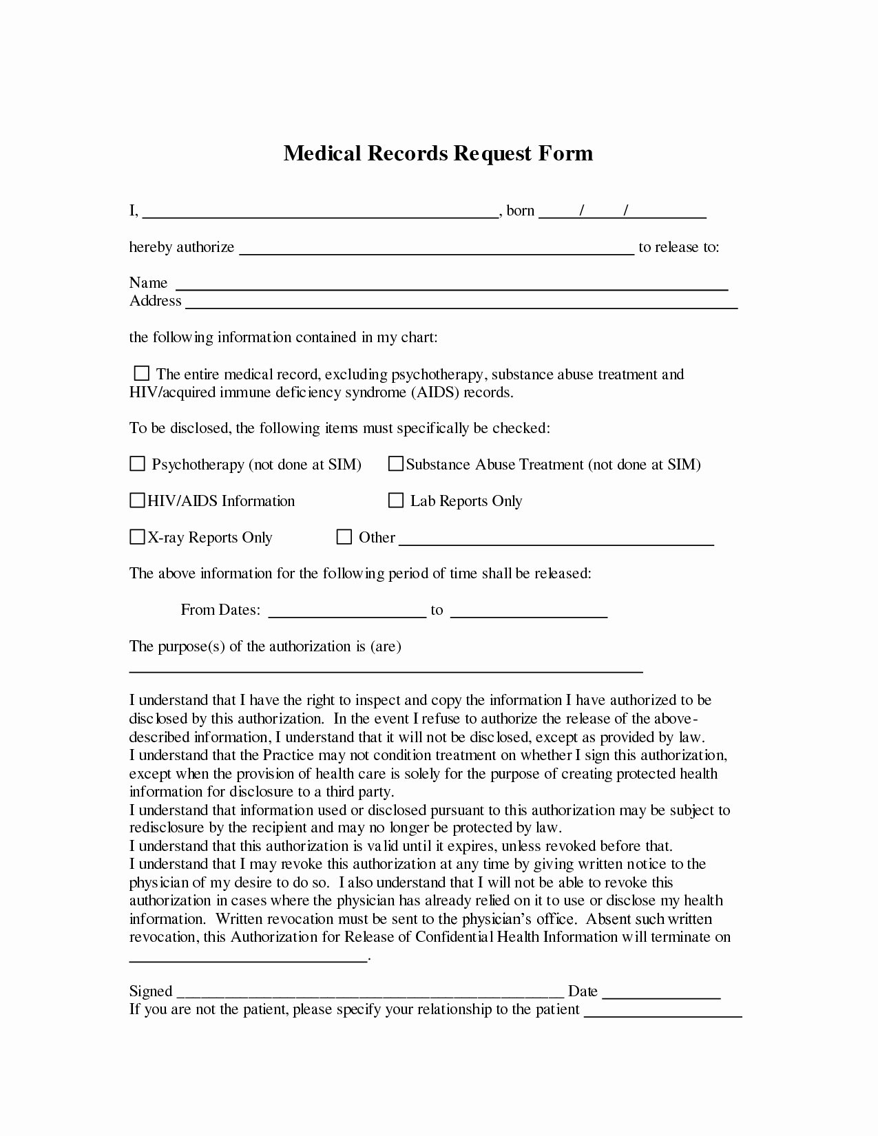 Medical Records Request form Template Luxury Request for Medical Records form Template – formocks