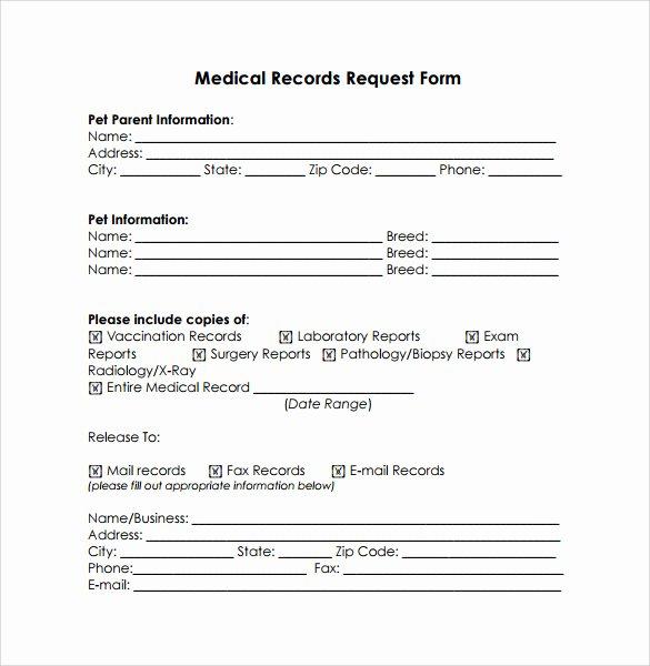 Medical Records Request form Template Unique Medical Records Release form 10 Free Samples Examples