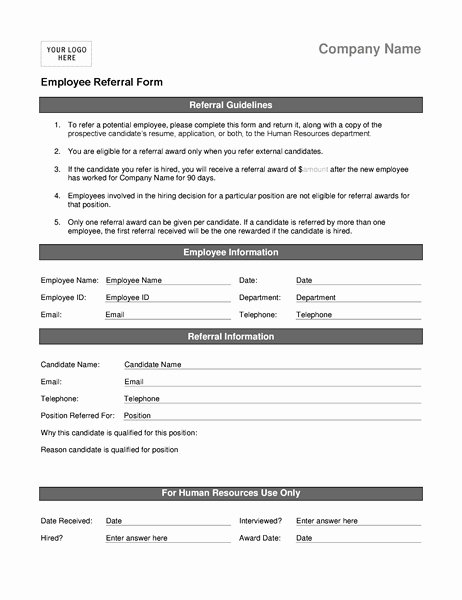 Medical Referral form Templates Beautiful Employee Referral forms