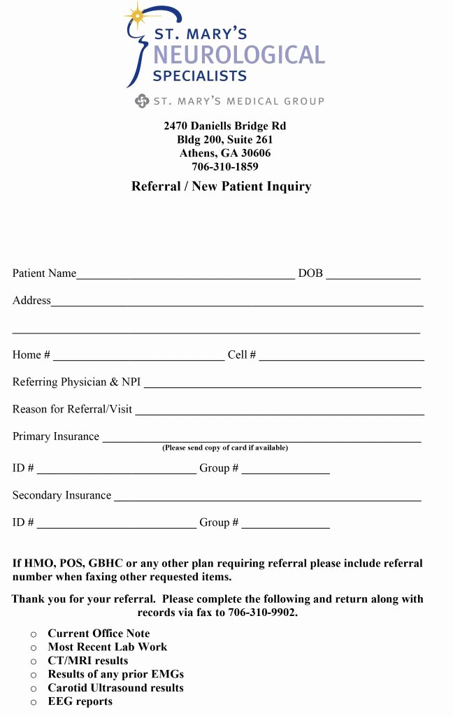 Medical Referral form Templates Beautiful Referral forms St Mary S Hospital and Health Care System