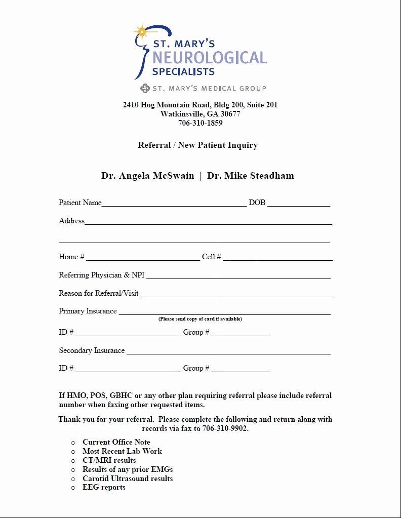 medical referral form 3599