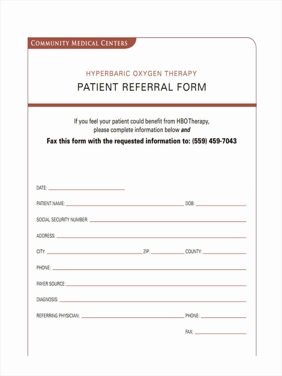 Medical Referral form Templates Fresh Free 7 Medical Referral forms In Samples Examples formats