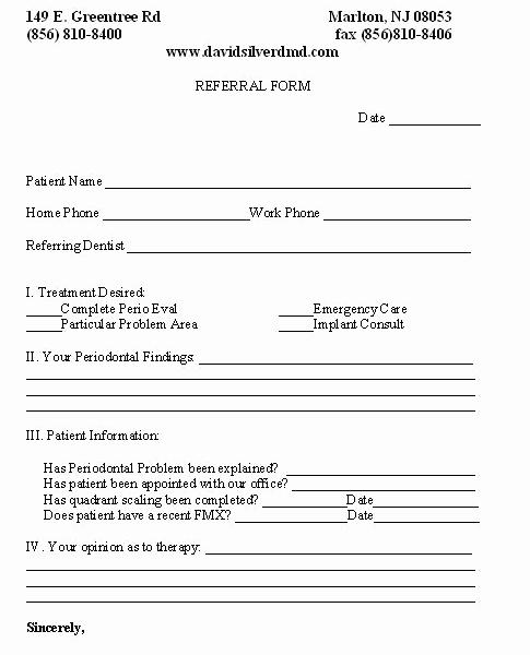 Medical Referral form Templates Inspirational Line Referral form Marlton Nj