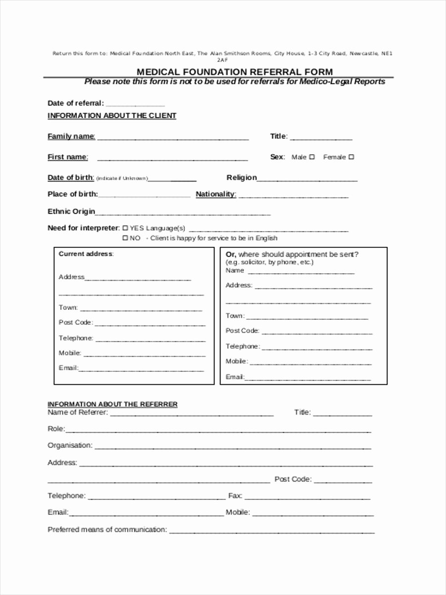 Medical Referral form Templates Luxury Medical Referral form 8 Free Documents In Word Pdf