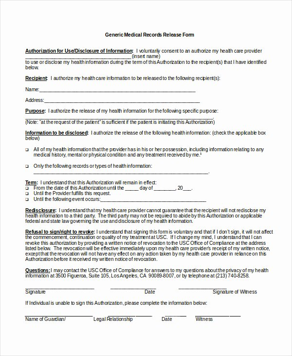 Medical Release form Template Best Of Authorization Release form