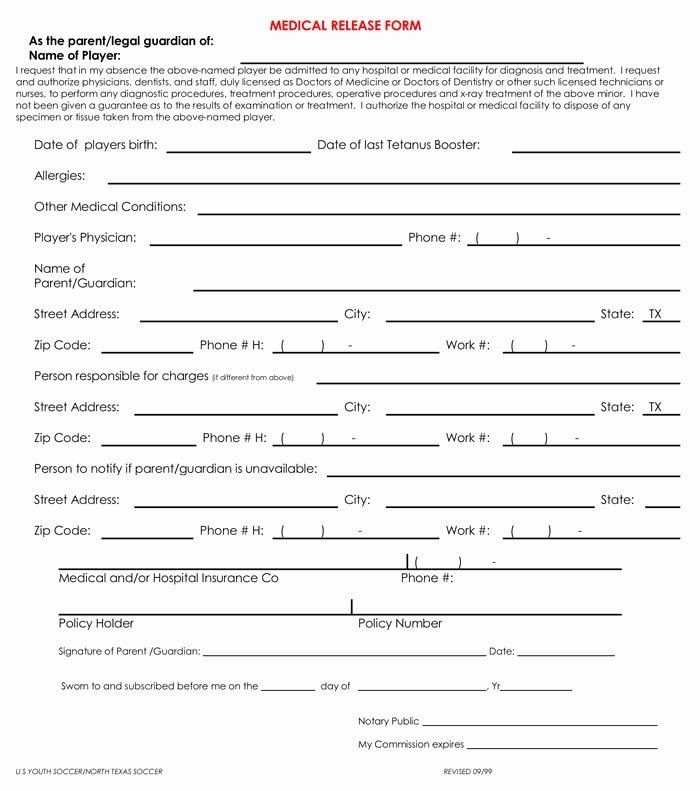 Medical Release form Template Fresh 20 Samples Of Medical Records Release & Authorization forms