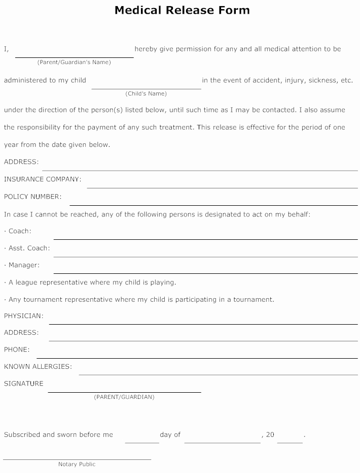 Medical Release form Template Fresh Example Image Medical Release form Templets