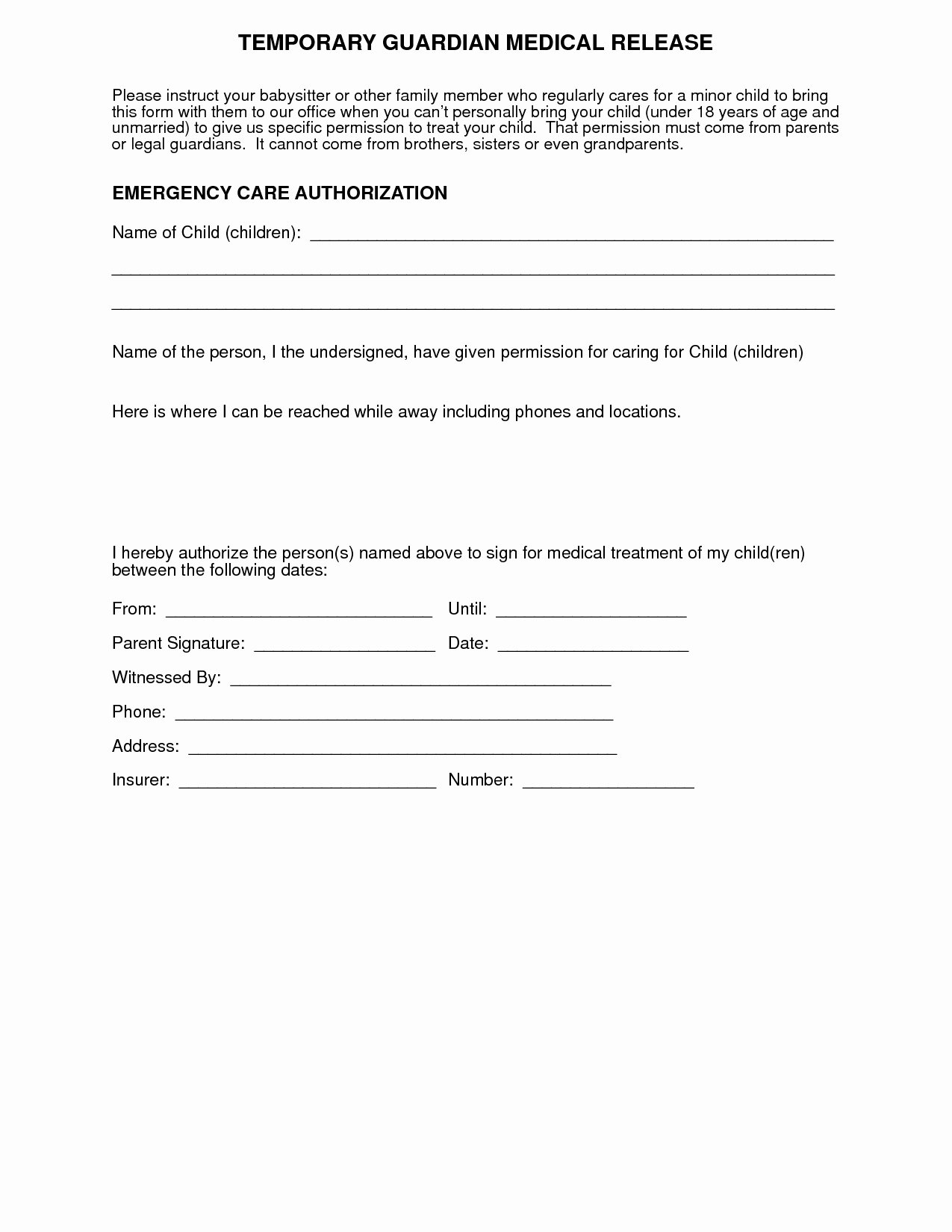 Medical Release form Template Fresh Medical Consent Letter for Grandparents Template