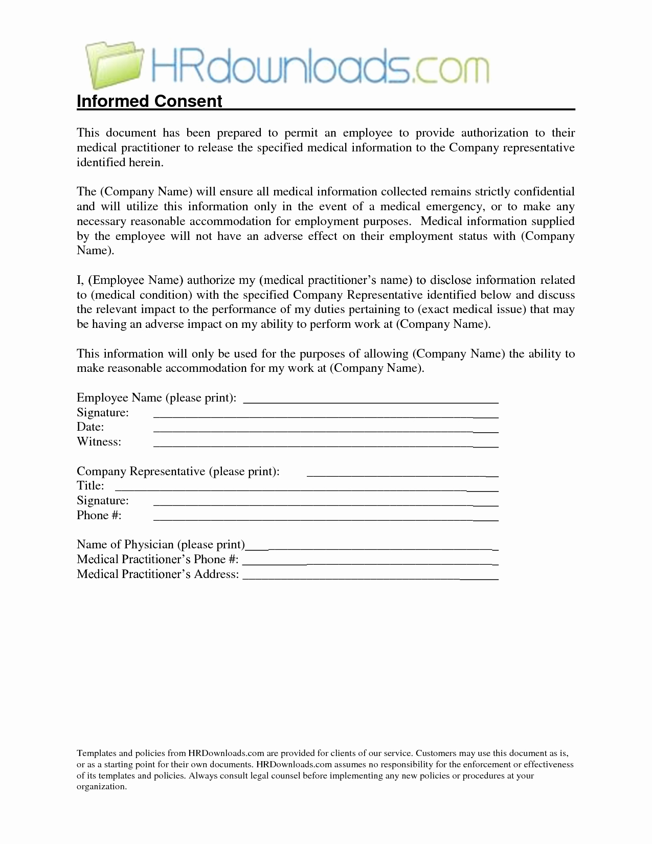 Medical Release form Template Inspirational Medical Release Information form Template