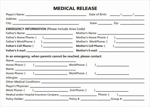 Medical Release form Template Lovely Sample Medical Release form 10 Free Documents In Pdf Word