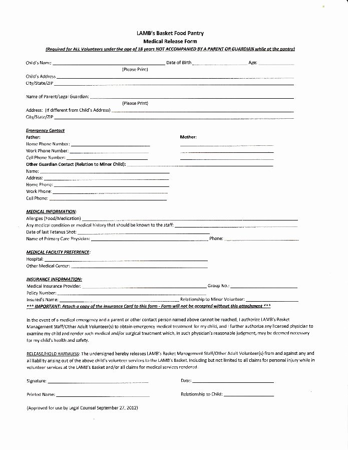 Medical Release form Template Luxury Medical Release form for Minors – Templates Free Printable