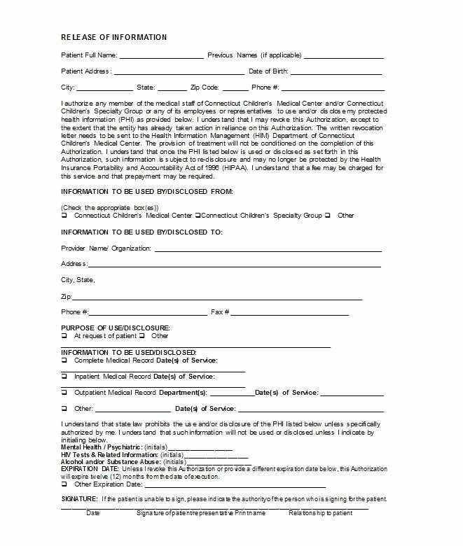 Medical Release form Template New 30 Medical Release form Templates Template Lab