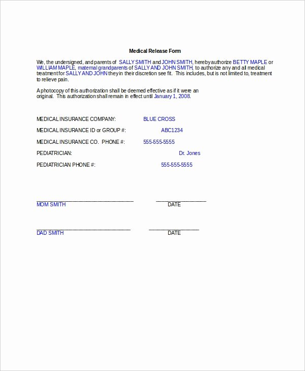 Medical Release form Template Unique 10 Medical Release forms Free Sample Example format