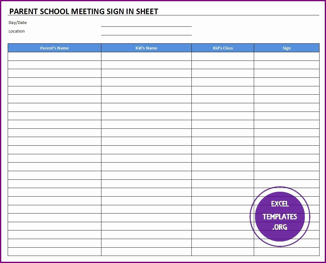 Meeting Sign In Sheet Template New Parent School Meeting Sign In Sheet Template