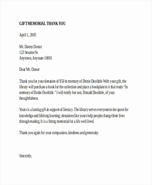 Memorial Donation Letter Template Elegant Sample Donation Thank You Letter In Memory someone