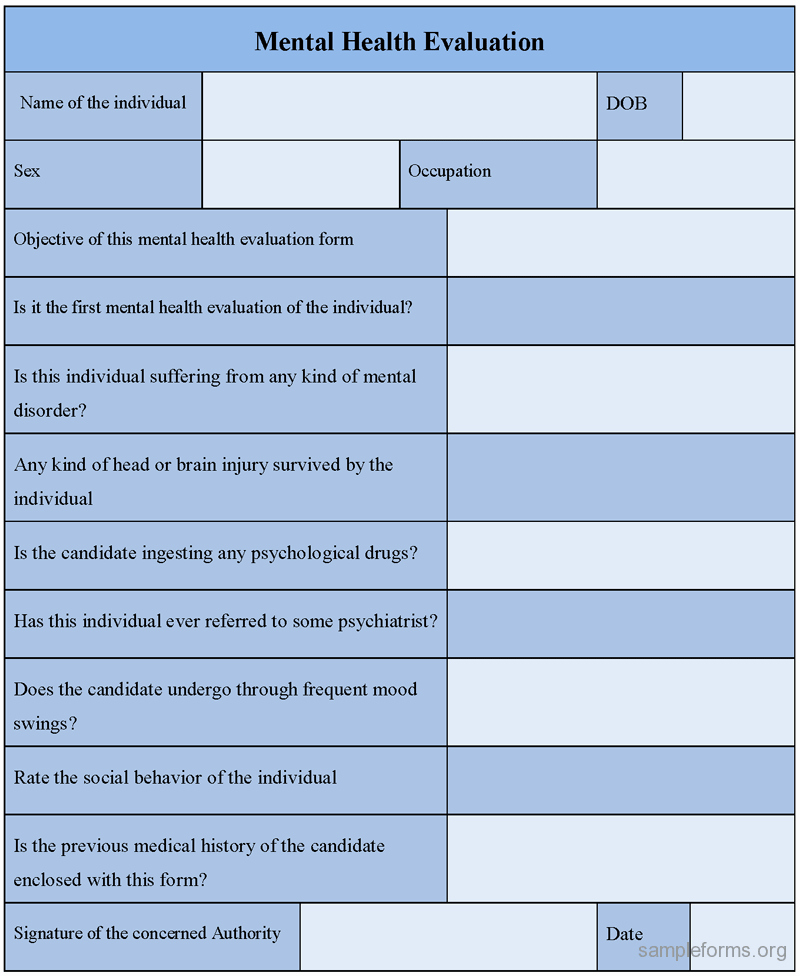 Mental Health assessment Templates Beautiful Mental Health Evaluation form Sample forms