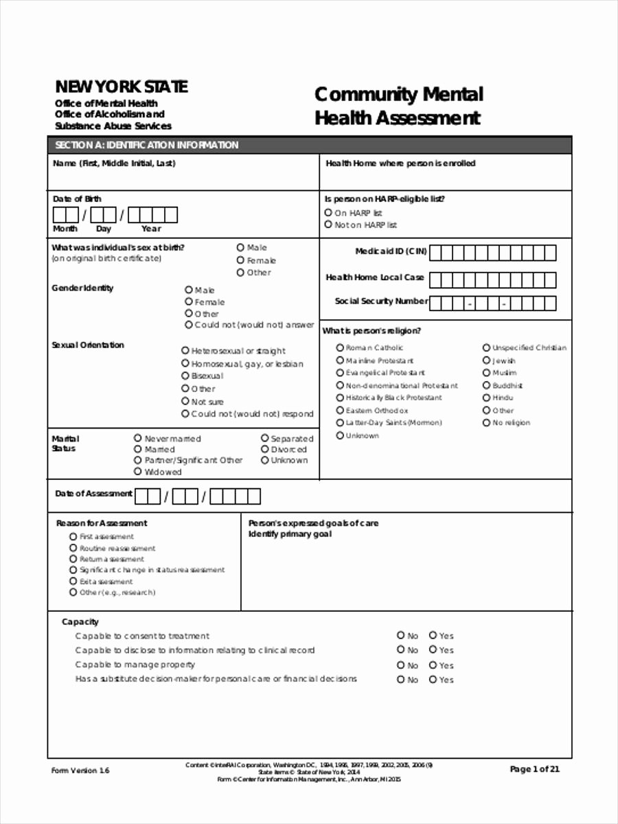 Mental Health assessment Templates Luxury Free 7 Mental Health assessment forms In Samples