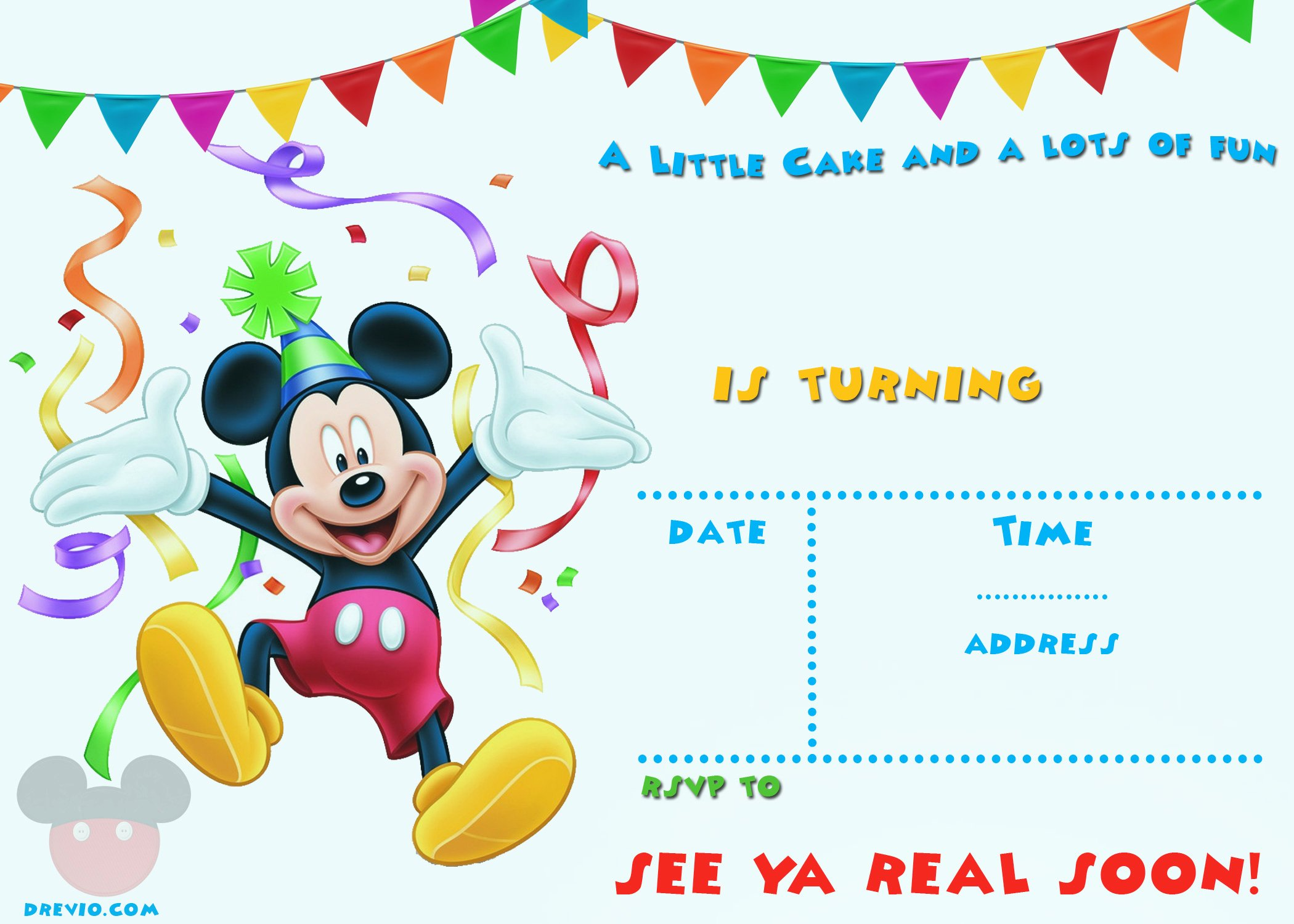 Mickey Mouse Invitations Template Beautiful Free Mickey Mouse 1st Birthday Invitations – Free