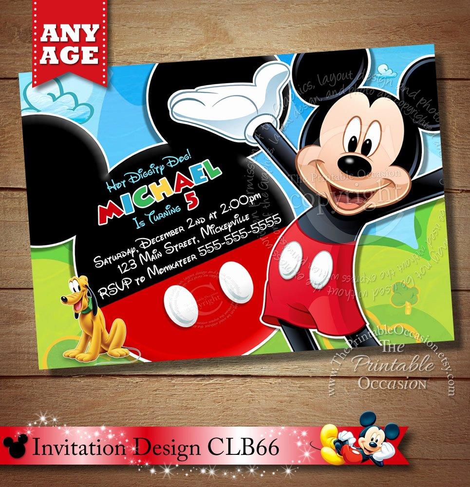 Mickey Mouse Invitations Template Beautiful Mickey Mouse Clubhouse Invitation Mickey Invitation Mickey