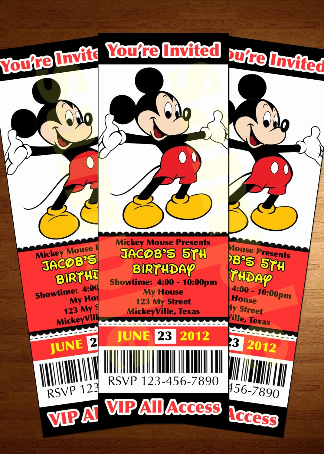 Mickey Mouse Invitations Template Beautiful Mickey Mouse Ticket Invitation Printable Diy Invite Red